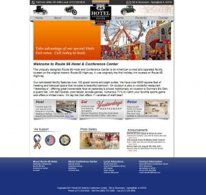 The Route 66 hotel Springfield IL website before recreation by O3 Internet Consulting, Inc.